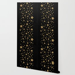 Gold Stars on Black Wallpaper