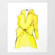 Yellow Coat with Bow | Print from Original Watercolor Painting Art Print