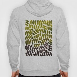 Colorful Watercolor Abstract Scale Bean Pattern Olive Green & Black Hoody