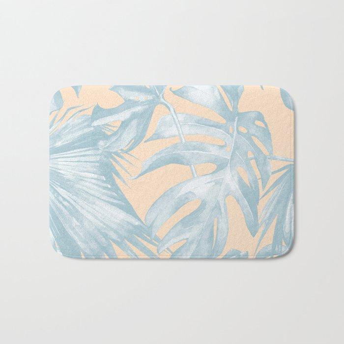 Tropical Plants Blue on Peach Coral Bath Mat