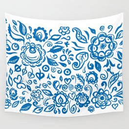 Beautiful folk art floral ornament with blue flowers on white background Wall Tapestry