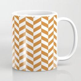 Ocher Orange Herringbone Pattern Coffee Mug