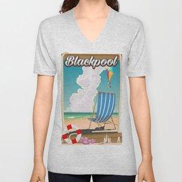 Blackpool beach deck chair travel poster Unisex V-Neck