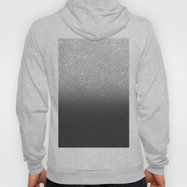 Modern faux silver glitter ombre grey black color block Hoody