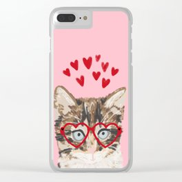 Kitten valentines day love hearts valentine for cat person cat lady must haves Clear iPhone Case