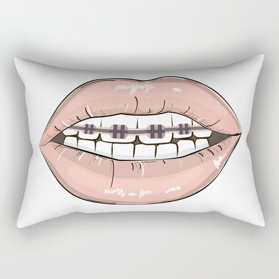Lips vs braces Rectangular Pillow