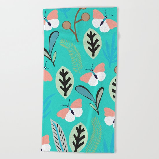 Flower and Butterfly II Beach Towel