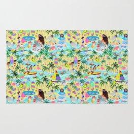 Aloha Hawaiian Tropical mermaid , flamingos, yoga floats floral Rug
