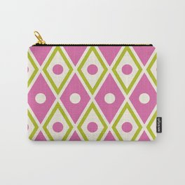 Harlequin Pattern Chartreuse Pink Carry-All Pouch