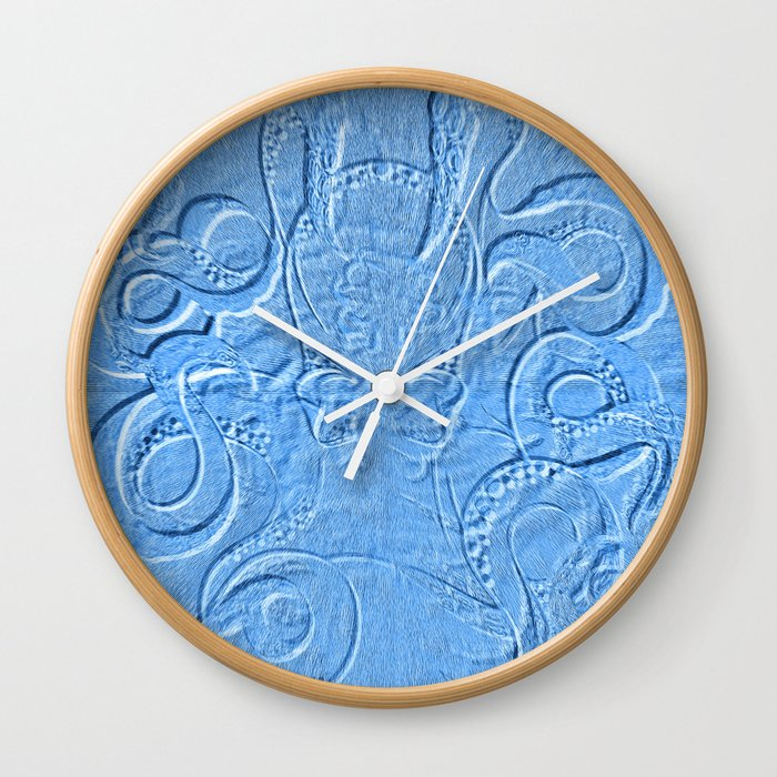 Blue Octopus Sand Drawing Illusion Pattern Wall Clock