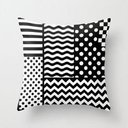 Mixed Patterns (Horizontal Stripes/Polka Dots/Wavy Stripes/Chevron/Checker) Throw Pillow