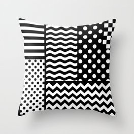 Mixed Patterns (Horizontal Stripes/Polka Dots/Wavy Stripes/Chevron/Checker) Throw Pillow