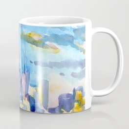 blue icing, print or original watercolor painting by Jessie Novik from rooftop view overlooking NYC Coffee Mug