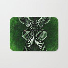 Hipster Zebra in Green Bath Mat