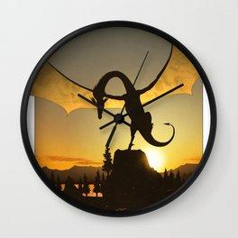 Dragon Sunset Wall Clock