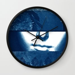 Fragments of the Past (20), art print, collage, blue print, wall art, wall decor, home decor Wall Clock