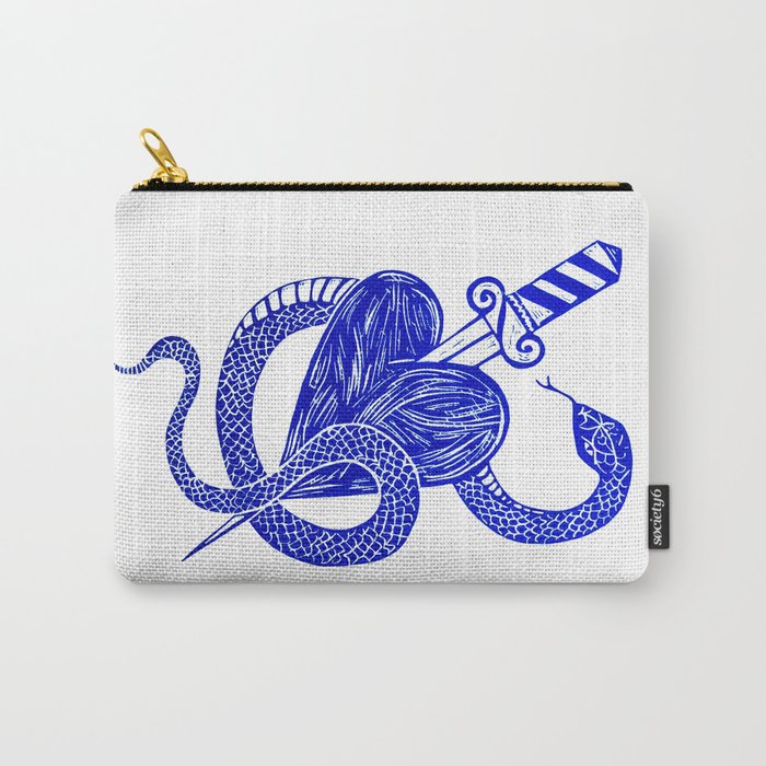 Evil Twin - blue snake Lino print Carry-All Pouch