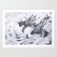 attack on titan Art Prints featuring Attack on Titan Dragon by EltonDSouzaART