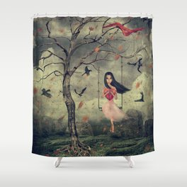 Girl on a swing in the woods Shower Curtain