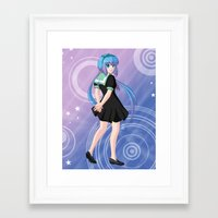 vocaloid Framed Art Prints featuring Aoki Lapis - VOCALOID Gakuen by Tenki Incorporated