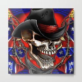 Flag Usa America United States civil war military poster skull Metal Print