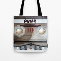 punk rock Tote Bags featuring PUNK ROCK by The Family Art Project