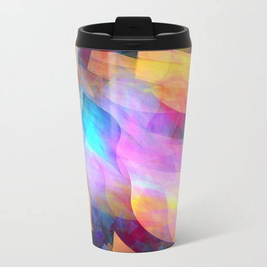 Colourful abstract with leaf shapes Metal Travel Mug