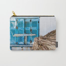 Distressed Blue Wooden Shutters and Beach Umbrella in Crete. Carry-All Pouch