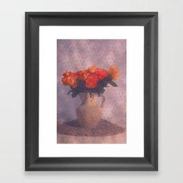 Milk jar and roses Framed Art Print