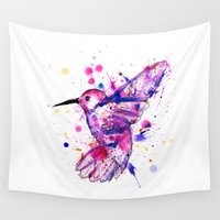 splatter Wall Tapestries featuring Hummingbird Splatter by Ludwig Van Bacon