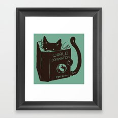 World Domination for Cats (Green) Framed Art Print