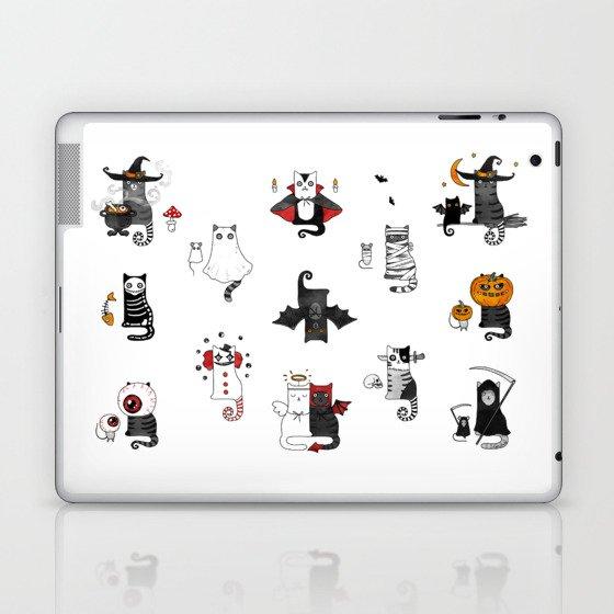 Halloween Cats In Terrible Imagery Laptop & iPad Skin
