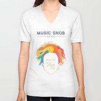 paramore V-neck T-shirts featuring Music to DYE for — Music Snob Tip #075 by Elizabeth Owens