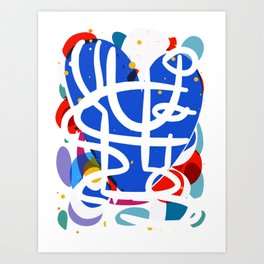 Blue Heart Abstract Art  Art Print