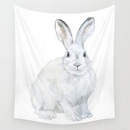 Arctic Rabbit Watercolor Wall Tapestry
