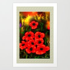 Poppies Card by Ave Hurley Art Print