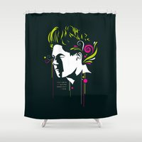 niall Shower Curtains featuring One Illustration - Niall by Art of Nanas