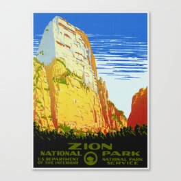 Zion National Park - Vintage Travel Canvas Print