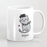 bonjour Mugs featuring Bonjour by Nora Jartan