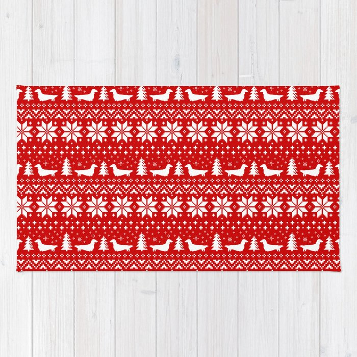 longhaired dachshund silhouettes christmas sweater pattern rug by