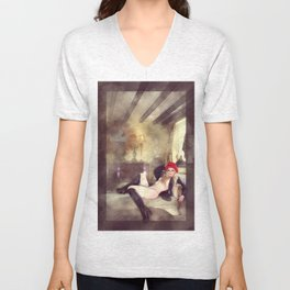 Self Portrait by Mary Bassett Unisex V-Neck