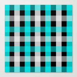 blue black checks Canvas Print