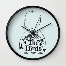 The Birds, Alfred Hitchcock, alternative movie poster, minimal playbill, Tippi Hedren, horror film Wall Clock