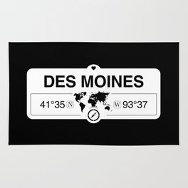 Des Moines Iowa Map GPS Coordinates Artwork with Compass Rug