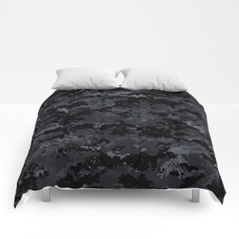 Pixelated Dark Grey Camouflage Comforters