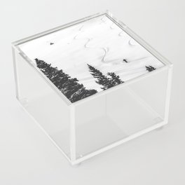 Backcountry Skier // Fresh Powder Snow Mountain Ski Landscape Black and White Photography Vibes Acrylic Box