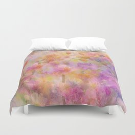 Sophisticated Painterly Floral Abstract Duvet Cover