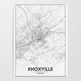 Minimal City Maps - Map Of Knoxville, Tennessee, United States Poster