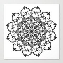 Mandala Dentelle black By Sonia H. Canvas Print