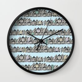 amsterdam canal houses - project  Wall Clock